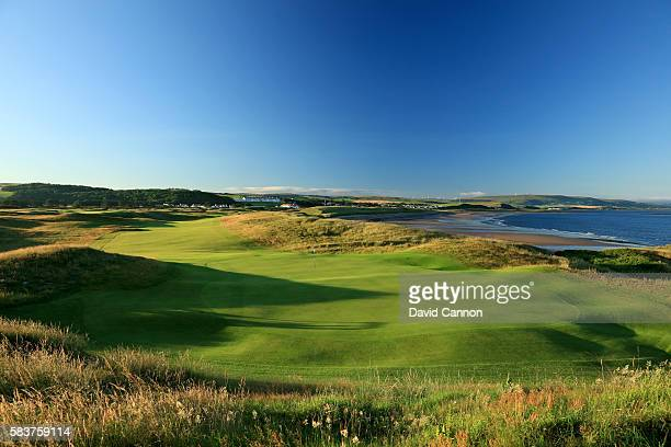 A view from behind the green on the 476 yards par 4 eighth hole of the Ailsa Course at the Trump Turnberry Resort on July 19 2016 in Turnberry...