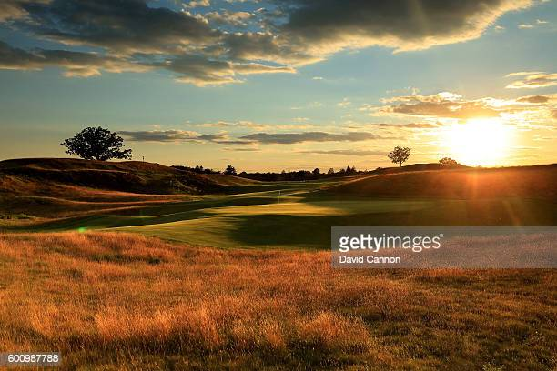 View from behind the green on the 481 yards par 4, 17th hole at Erin Hills Golf Course the venue for the 2017 US Open Championship on August 31, 2016...