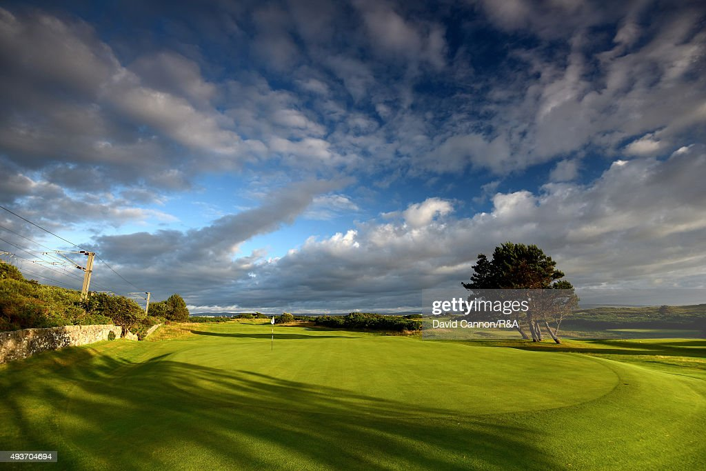 A view from behind the green on the 490 yards par 4, 11th hole 'The Railway' on the Old Course at Royal Troon venue for the 2016 Open Championship on July 29, 2015 in Troon, Scotland.