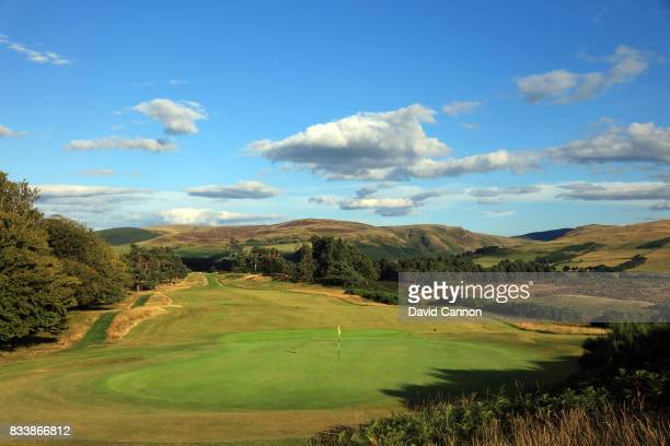 A view from behind the green on the 499 yards par 4 10th hole on the King's Course at The Gleneagles Hotel on August 9 2017 in Auchterarder Scotland