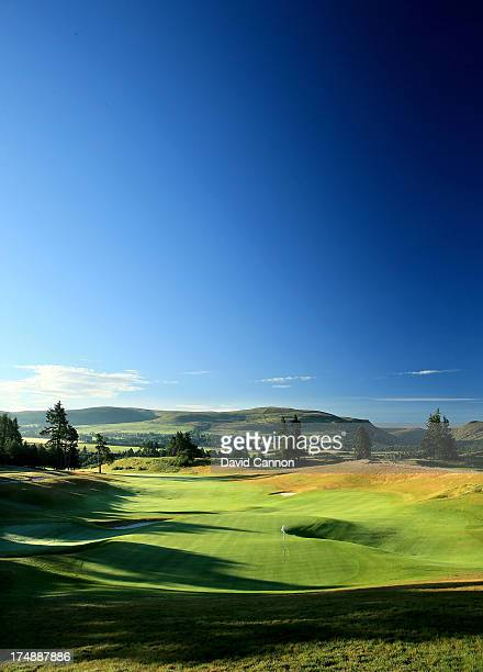View from behind the green on the 513 yards par 5, 18th hole 'Dun Roamin' on The PGA Centenary Course at The Gleneagles Hotel Golf Resort will be the...