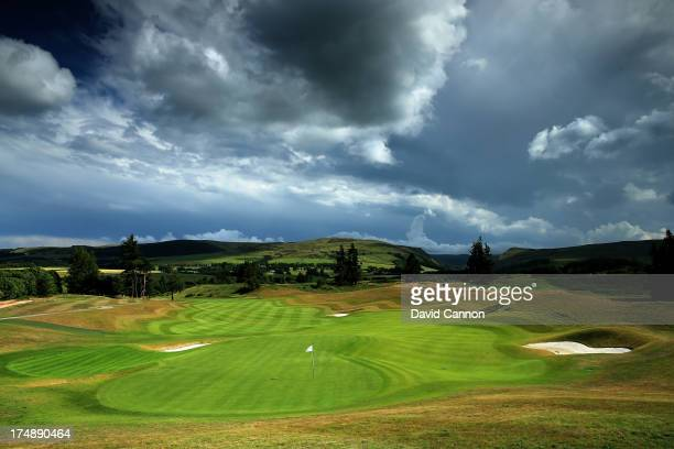 View from behind the green on the 513 yards par 5, 18th hole 'Dun Roaming' on The PGA Centenary Course at The Gleneagles Hotel Golf Resort which will...