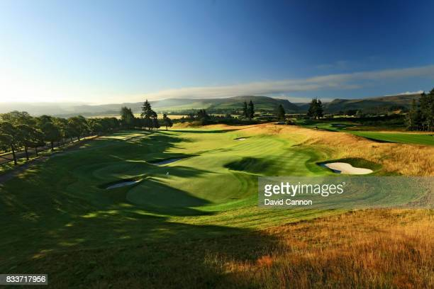 View from behind the green on the 513 yards par 5, 18th hole on the PGA Centenary Course at The Gleneagles Hotel on August 7, 2017 in Auchterarder,...