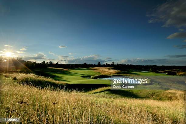 View from behind the green on the 516 yards par 5, 2nd hole 'Wester Greenwells' on The PGA Centenary Course at The Gleneagles Hotel Golf Resort which...
