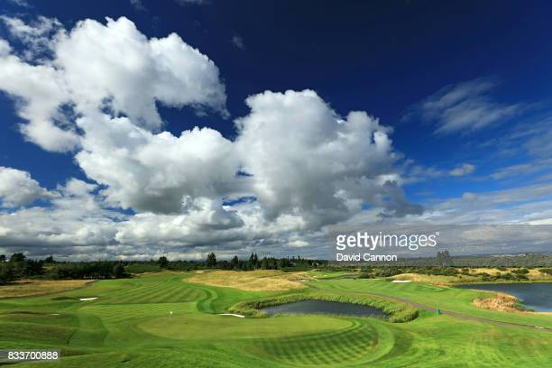 View from behind the green on the 516 yards par 5, second hole on the PGA Centenary Course at The Gleneagles Hotel on August 7, 2017 in Auchterarder,...