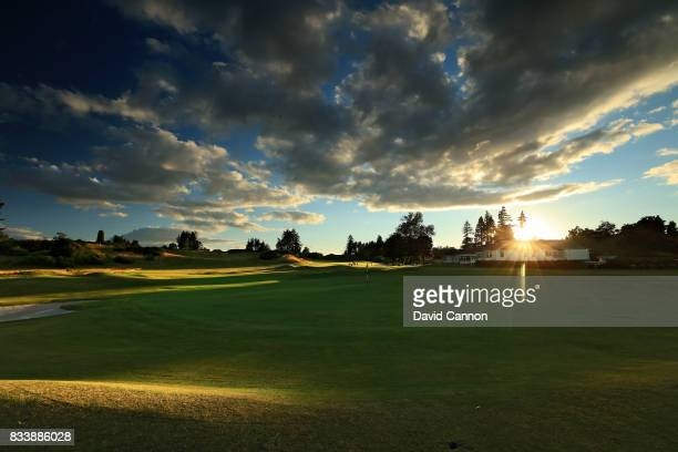 A view from behind the green on the 525 yards par 5 18th on the King's Course at The Gleneagles Hotel on August 9 2017 in Auchterarder Scotland