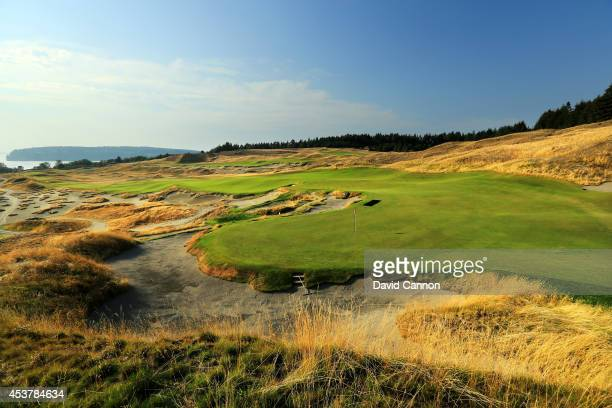 A view from behind the green on the 530 yards par 5 4th hole at Chambers Bay Golf Course the venue for the 2015 US Open Championship on August 12...