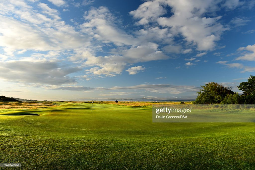 A view from behind the green on the 542 yards par 5, 16th hole 'Well' on the Old Course at Royal Troon venue for the 2016 Open Championship on July 29, 2015 in Troon, Scotland.
