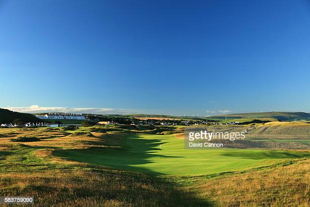 A view from behind the green on the 575 yards par 5 seventh hole of the Ailsa Course at the Trump Turnberry Resort on July 19 2016 in Turnberry...
