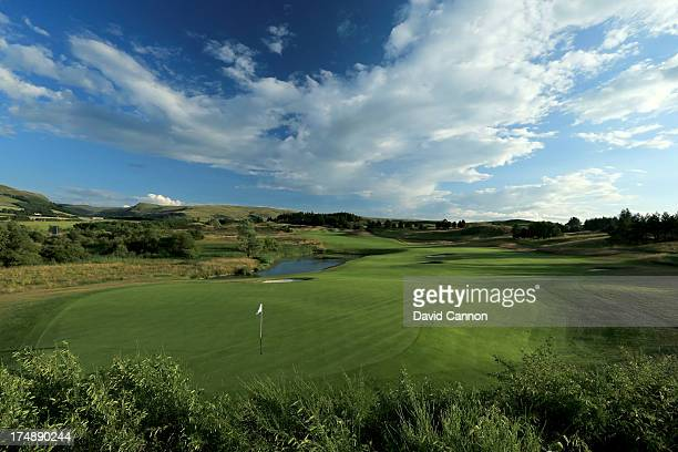 A view from behind the green on the 618 yards par 5 9th hole 'Crook O'Moss' on The PGA Centenary Course at The Gleneagles Hotel Golf Resort which...