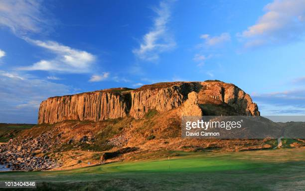 A view from behind the green on the downhill 147 yards par 3 fourth hole at Shiskine Golf Club on July 24 Isle of Arran Scotland