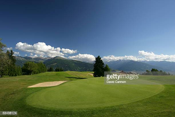 A view from behind the green on the par 3 8th hole on the Crans Sur Sierre Golf Club Crans Montana on July 21 2005 in Crans Montana Switzerland