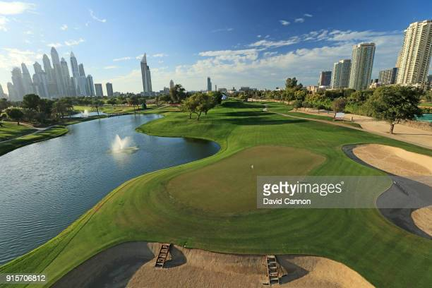 A view from behind the green on the par 3 fourth hole on the Majlis Course at The Emirates Golf Club on January 31 2018 in Dubai United Arab Emirates