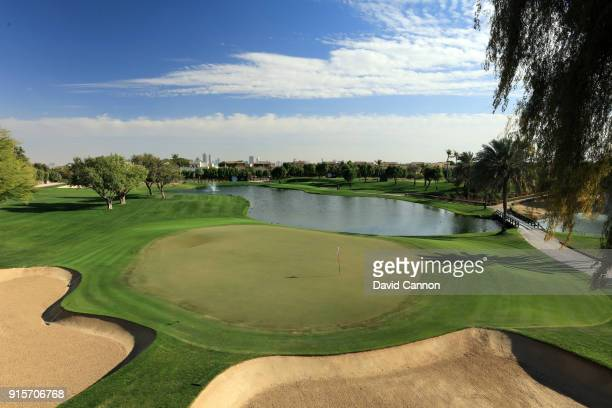 A view from behind the green on the par 3 seventh hole on the Majlis Course at The Emirates Golf Club on January 31 2018 in Dubai United Arab Emirates