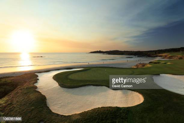 A view from behind the green on the par 4 10th hole at Pebble Beach Golf Links the host venue for the 2019 US Open Championship on November 8 2018 in...