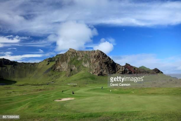 A view from behind the green on the par 4 11th hole at the Westman Island Golf Club Golfklubbur Vestmannaeyja on June 21 2017 in Vestmannaeyjar hofn...