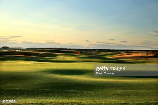 View from behind the green on the par 4, 12th hole with the 11th green in the distance on the Old Course at St Andrews venue for The Open...