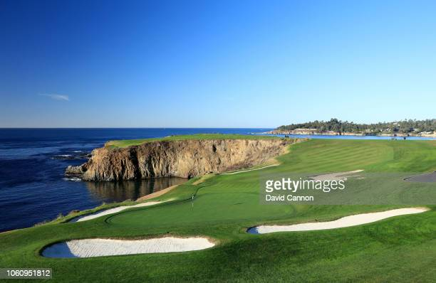A view from behind the green on the par 4 eighth hole at Pebble Beach Golf Links the host venue for the 2019 US Open Championship on November 8 2018...