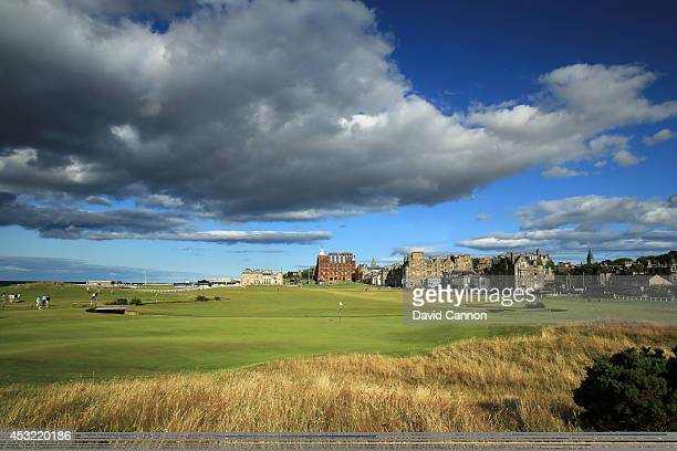 View from behind the green on the par 4, first hole on the Old Course at St Andrews venue for The Open Championship in 2015, on July 29, 2014 in St...