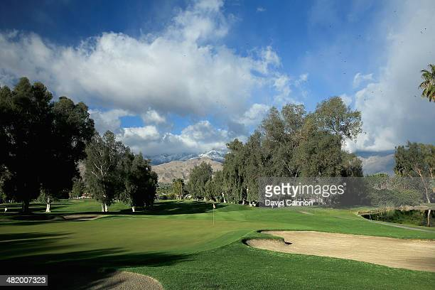 A view from behind the green on the par 4 fourth hole during the proam as a preview for the 2014 Kraft Nabisco Championship on the Dinah Shore...