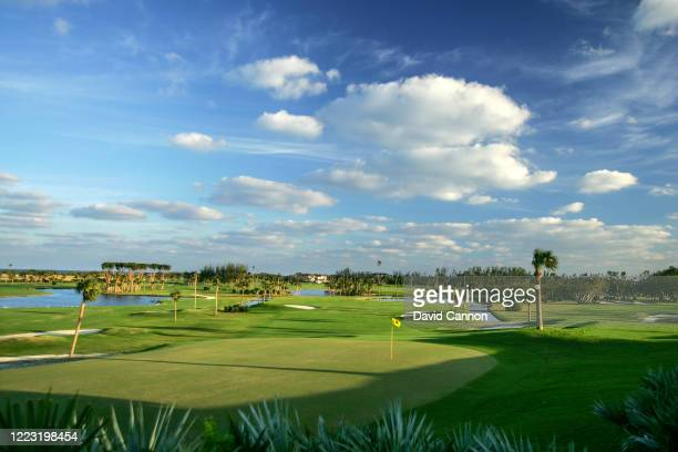 View from behind the green on the par 4, second hole looking back towards the clubhouse at Seminole Golf Club on November 29, 2004 in Juno Beach,...