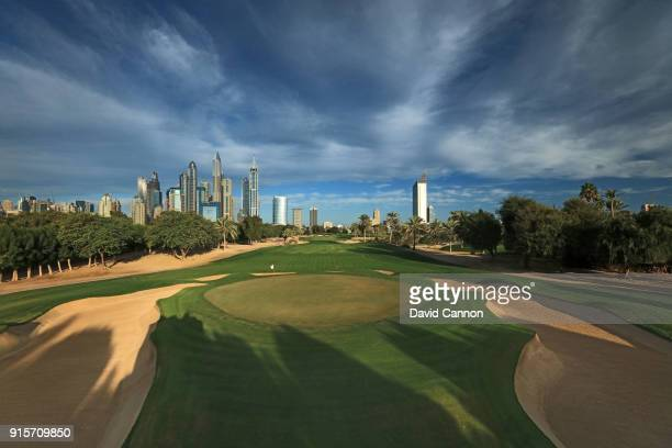 A view from behind the green on the par 5 10th hole on the Majlis Course at The Emirates Golf Club on January 31 2018 in Dubai United Arab Emirates