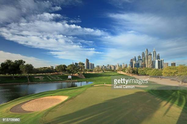 A view from behind the green on the par 5 13th hole on the Majlis Course at The Emirates Golf Club on January 31 2018 in Dubai United Arab Emirates