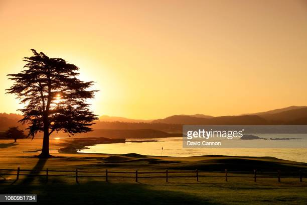 A view from behind the green on the par 5 18th hole at Pebble Beach Golf Links the host venue for the 2019 US Open Championship on November 9 2018 in...