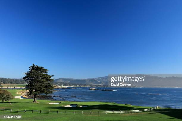 A view from behind the green on the par 5 18th hole at Pebble Beach Golf Links the host venue for the 2019 US Open Championship on November 7 2018 in...