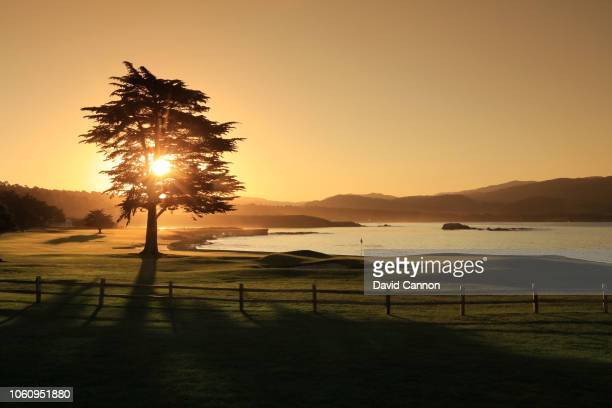 A view from behind the green on the par 5 18th hole at Pebble Beach Golf Links the host venue for the 2019 US Open Championship on November 8 2018 in...
