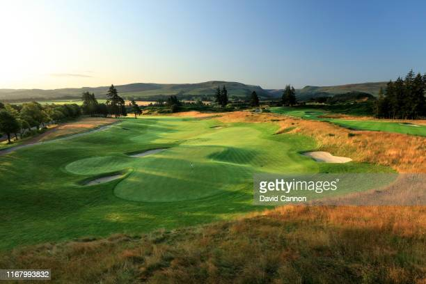 View from behind the green on the par 5, 18th hole on the PGA Centenary Course at Gleneagles on August 12, 2019 in Auchterarder, Scotland.