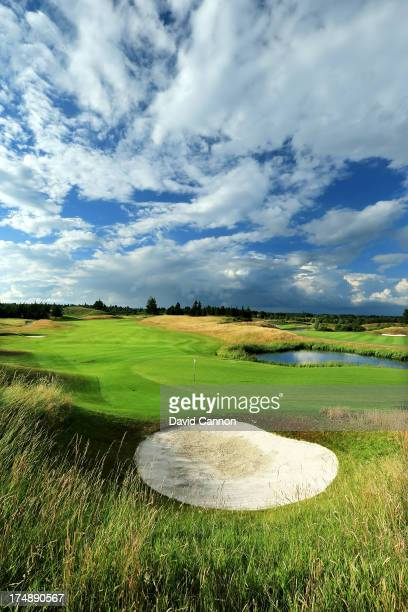 View from behind the green on the par 5, 2nd hole 'Wester Greenwells' on The PGA Centenary Course at The Gleneagles Hotel Golf Resort which will be...