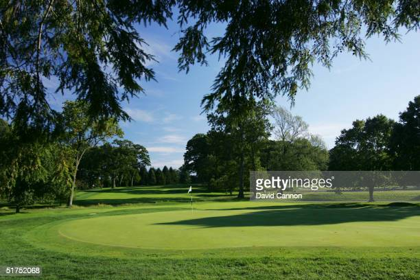 A view from behind the green on the par 5 503 yard third hole looking back up the fairway on the Lower Course at Baltusrol Golf Club venue for the...