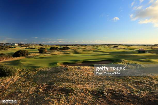 A view from behind the green on the par 5 sixth hole 'Hogan's Alley' on the Championship Links at Carnoustie the host course for the 2018 Open...