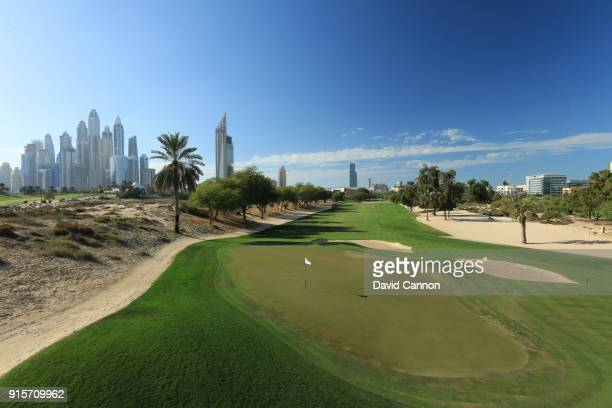 A view from behind the green on the par 5 third hole on the Majlis Course at The Emirates Golf Club on January 31 2018 in Dubai United Arab Emirates