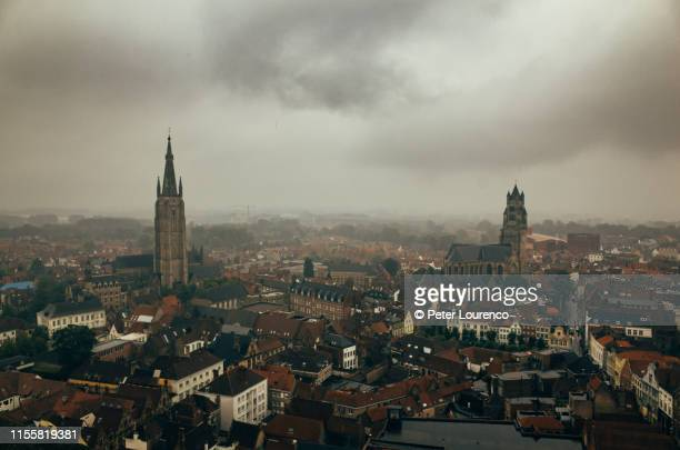 view from belfry of bruges - フランダース ストックフォトと画像