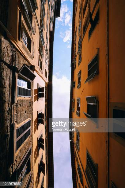 view from below apartment buildings, florence, tuscany, italy - südeuropa stock-fotos und bilder