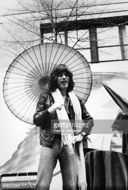 View from below British musician Mick Jagger of the rock band the Rolling Stones New York New York May 1 1975 The band announced their 'Tour of the...