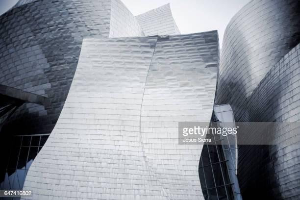 View from below of Guggenheim Museum, Bilbao, Vizcaya, Basque Country, Spain