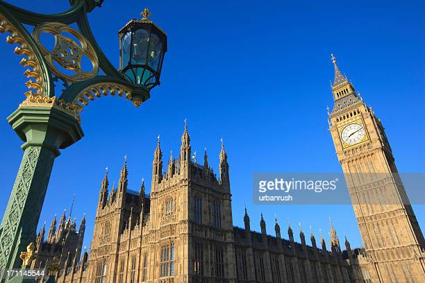 View from below of the Houses of Parliament in London