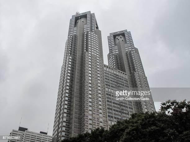 View from below of the Tokyo Metropolitan Government Building in the Shinjuku ward of Tokyo Japan October 17 2017