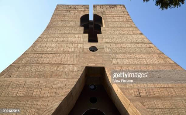 View from below Palika Kendra office of the New Delhi Municipal Council New Delhi India Architect Kuldip Singh 1985