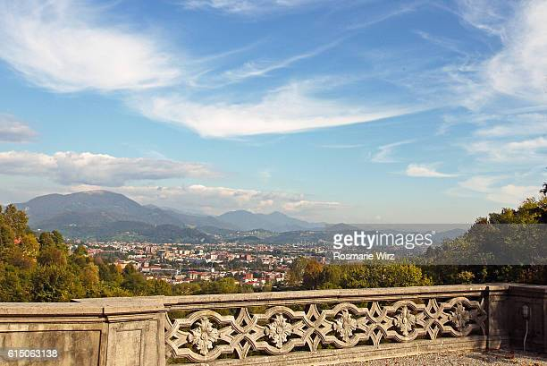 View from Bergamo old town terrace towards north