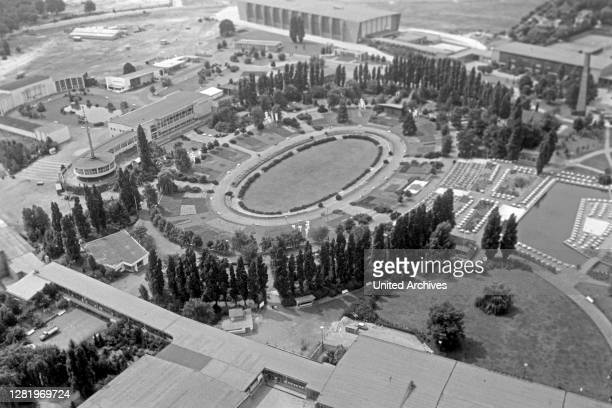 View from Berlin Radio Tower to the Mommsen stadium at Sommergarten, Germany 1961.