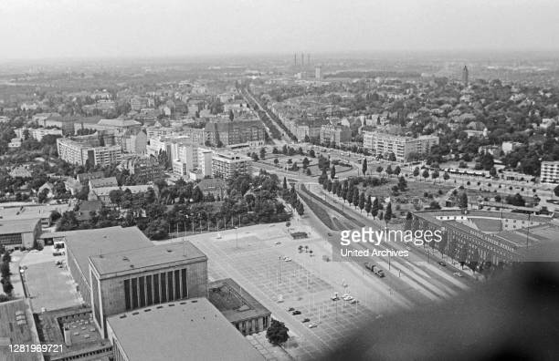 View from Berlin Radio Tower to Theodor Heuss square and Reichsstrasse street at Berlin Westend, Germany 1961.