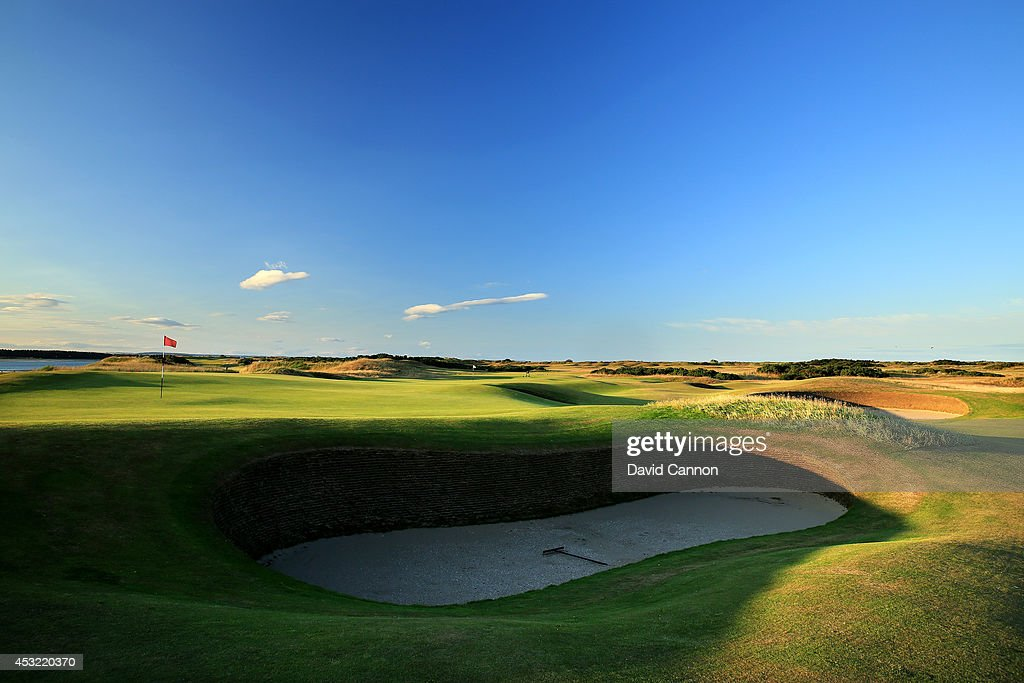 A view from beside the green of the 'Strath Bunker' on the 174 yards par 3, 11th hole 'High In' which shares it's green with the par 4, 7th hole (behind) on the Old Course at St Andrews venue for The Open Championship in 2015, on July 29, 2014 in St Andrews, Scotland.