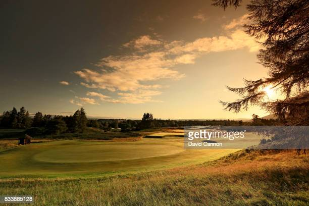 View from beside the green on the 377 yards par 4, 17th hole on the King's Course at The Gleneagles Hotel on August 9, 2017 in Auchterarder, Scotland.