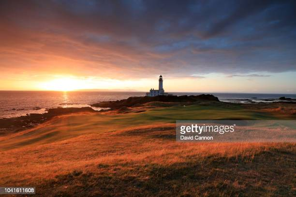 A view from beside the green on the par 3 ninth hole on the Ailsa Course at the Trump Turnberry Resort on July 29 2018 in Turnberry Scotland