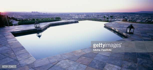 view from beverly hills pool - beverly hills stock pictures, royalty-free photos & images