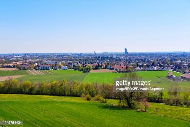 view from bismarck tower on steppacher berg over augsburg, swabia, bavaria, germany - augsburg zwaben stockfoto's en -beelden